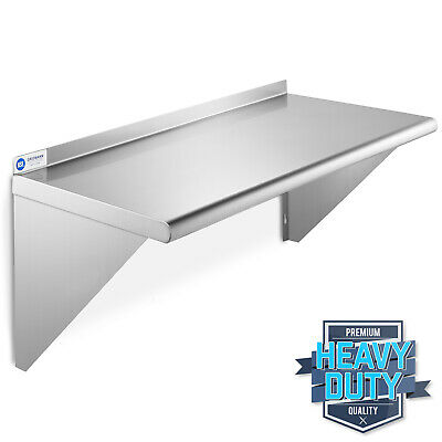 "Stainless Steel Commercial Kitchen Wall Shelf Restaurant Shelving - 12"" x 24"""