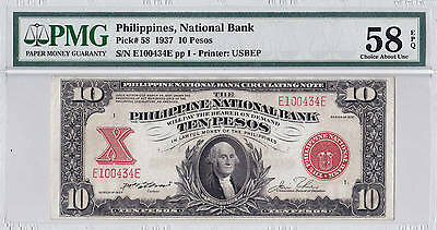 PMG 1937 PHILIPPINES NB 10 PESO P58 CH UNC 58 EPQ only 4 higher