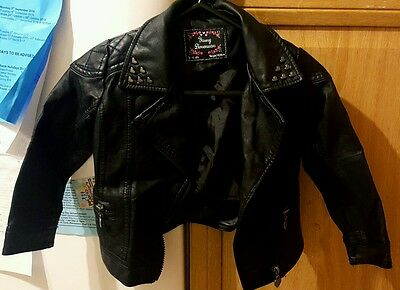 Girls black studded faux leather jacket 3-4 years excellent condition