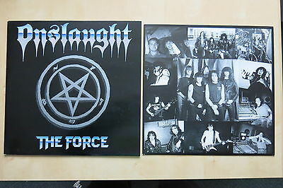 ONSLAUGHT The Force UK vinyl LP with inner Under One Flag FLAG1 1986 Ex+