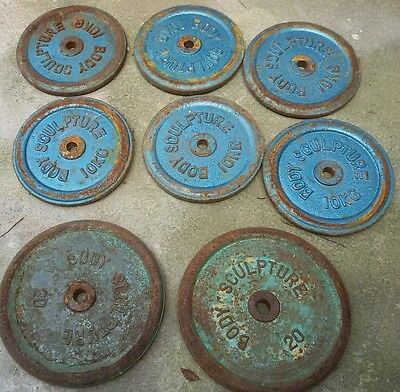 """BODY SCULPTURE Cast Iron weight discs 1"""" Hole. 100kg total. Need painting."""