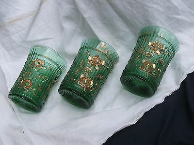Imperial Glass vintage 1900 Luster Open Rose EAPG blue green Gold TUMBLER EAPG