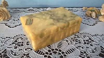 Antique Genuine Alabaster Hand Carved Made In Italy Trinket Cigarette Box