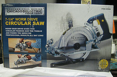"""Professional Series CHICAGO ELECTRIC #68988 7-1/4"""" Worm Drive Circular Saw NEW"""
