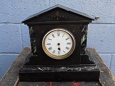 Vintage~Antique~Slate~Marble Effect~Mantle Clock~Spares Or Repairs
