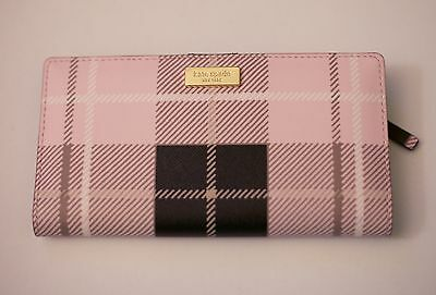 Kate Spade Stacy Leather Newbury Print Plaid Pink Wallet NEW