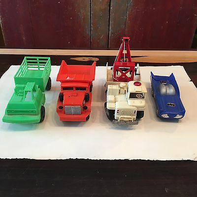 Vintage plastic truck and car, BATTERY OPERATED TOMIYAMA TOY (lot of 4 items)