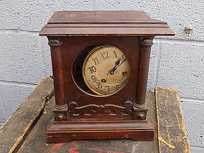 Vintage~Antique~Wooden~Mantle Clock~Spares Or Repairs