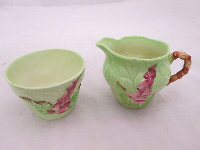 Vintage Charlton Ware Green Foxglove Sugar & Creamer Set Made in England