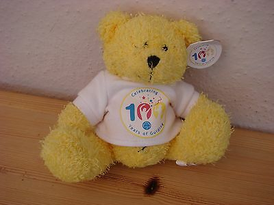 Celebrating 100 years of Guiding Teddy with tag.