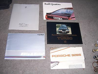 Porsch, lotus car Brochures.