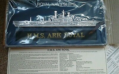 H.M.S. ARK ROYAL. SHIPS CAP TALLY PLAQUE.  Sealed AIRCRAFT CARRIER