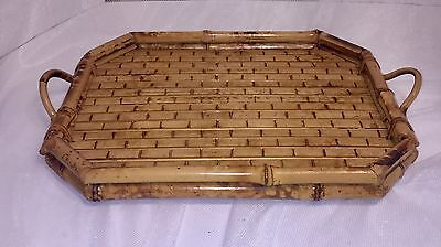 Vintage Rattan Bamboo Butler's Serving Tray With Handles  14 1/2""