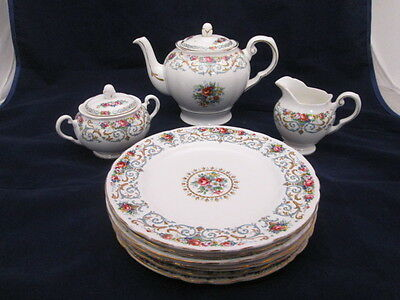 "Rare Tuscan English Bone China ""Orleans"" Teapot Sugar & Creamer 6 Salad Plates"