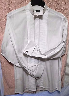 MOSS BROS Dress white shirt flyaway collar double cuff  16.5