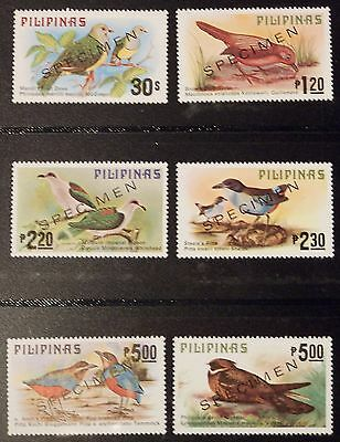PHILIPPINES, INDIGENOUS BIRDS SET OF 6, OVERPRINTED SPECIMEN, issued 1979, MNH