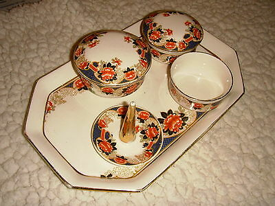 Vintage China Full Dressing Set 7 Pieces Made In England 1930/40? Red Blue Gold