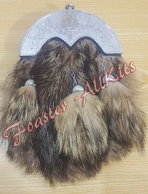 Brand New Full Dress Fox Fur Kilt Sporrans with Celtic Cantle,Chain & Belt.