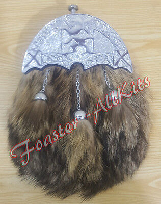 Brand New Full Dress Fox Fur Kilt Sporrans with Celtic Cantle,Chain & Belt./