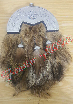 Brand New Full Dress Fox Fur Kilt Sporrans with Celtic Cantle,Chain & Belt./.