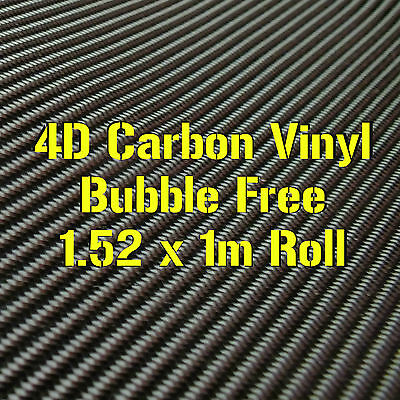 4D Gloss Black Carbon Fibre Vinyl 1.52 x 1m Roll - BUBBLE/AIR FREE Car Wrap