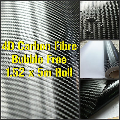 4D Gloss Black Carbon Fibre Vinyl 1.52 x 5m Roll - BUBBLE/AIR FREE Car Wrap