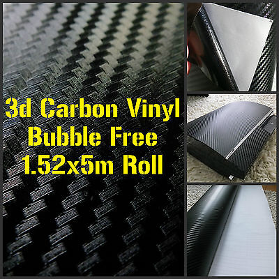 3D Black Carbon Fibre Vinyl 1.52x5m Roll     Bubble Free Car Wrap