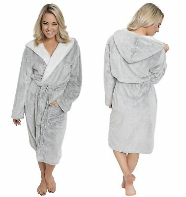 Ladies Shimmer Fleece Robe, Luxury Hooded Dressing Gown, Size 10-20