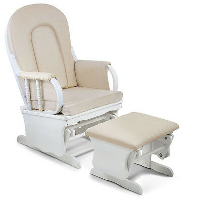 Baby Breast Feeding Sliding Glider Chair with Ottoman White Beige
