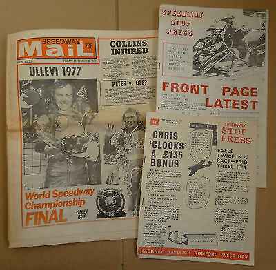 Speedway Mail (22/9/77) + 2 Issues of Speedway Stop Press (26/6/71 & 27/7/72)
