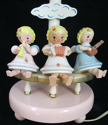 Vintage '60s Wooden Pink Baby Girl 3 Musician Angels IRMI Nursery Originals Lamp
