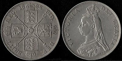 narkypoon's Very Scarce HIGH GRADE 1888 Victoria Inverted 1 SILVER Double Florin