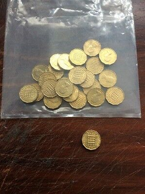 Bag Of 25 Old 1967 Three penny Coins. Uncirculated.