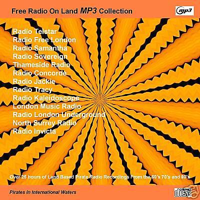Pirate Radio-Land Based Pirates Mp3's 60's 70's & 80's over 25 hrs DVD MP3 Disc