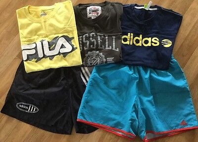 Bulk Lot of 5 Size S Men/Teen Sportswear Shorts T-Shirts ADIDAS FILA RUSSELL