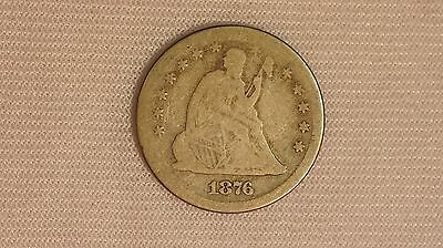 1876-S Seated Liberty Silver Quarter Dollar Coin- 25C