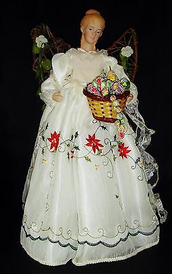 "Angel Christmas Tree Topper Figurine 15.5"" White Poinsettia Gown Ornament Decor"