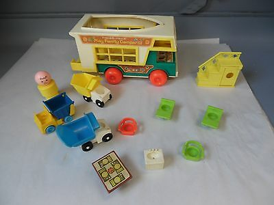 Vintage Fisher Price Play Family Camper & Misc Lot Toys