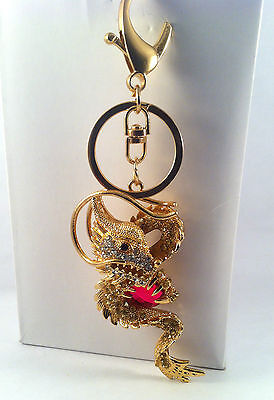 Cute Dragon Crystal Keychain Gift Keyring Charm Pendant Purse Bag Key Ring Chain