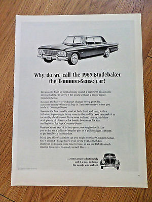 1965 Studebaker Ad Why Called the Common-Sense Car?  VW Volkswagen