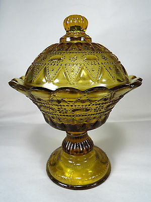 Very Ornate Amber Glass Candy Compote Jar Dish Bowl w/Lid,Maker Unknown