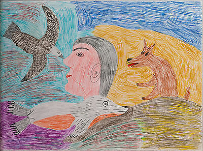 Françoise Oklaga 1982 Baker Lake Inuit Drawing – Person with Seal, Fox & Bird