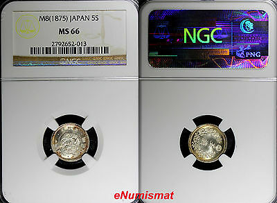 Japan Mutsuhito Silver Year 8  1875 5 Sen NGC MS66 PROOF LIKE SURFACES  Y# 22