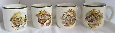 Vintage Lord Nelson Pottery England Wild Birds Mugs - Set Of 4