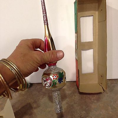 Antique Romanian Christmas Glass Tree Top and box and 2 free antique ornaments