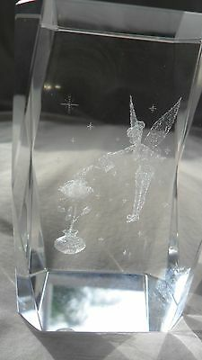 TINKERBELL Watering a ROSE   3D Laser Etched Crystal Glass Cube