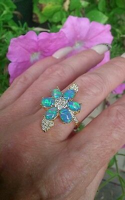 Blue Opal Flower Designer Ring, 18KYG/925, Size 9