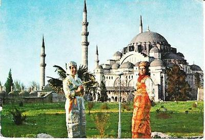 Istanbul, Turkey - ladies & Soliman the Magnificent Mosque - postcard 1965