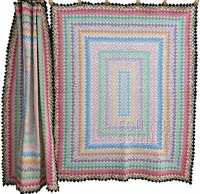 EXCEPTIONALLY RARE matched PAIR (2) 9-11spi BOSTON PAVEMENT vintage 1930s QUILTS