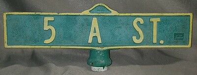 "Vintage Cast Aluminum Street Sign 5 A St. Florida Spencer Signs 21"" Long"